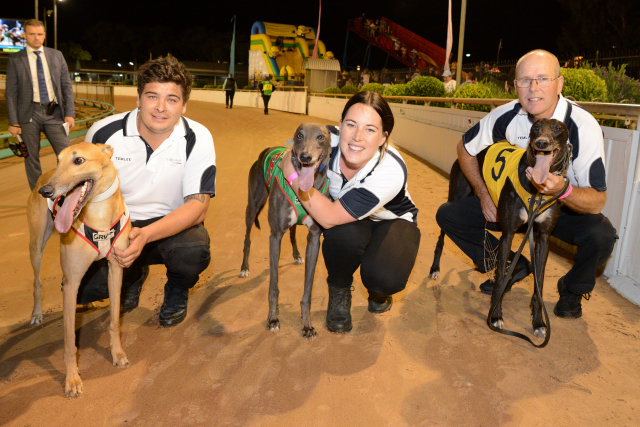 Group 1 Temlee place getters, from left; Correy Grenfell with Orson Allen (2nd), Brooke Ennis with winner Barooga Brett and Jeff Britton with Hasten Slowly (3rd).